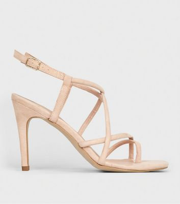 Nude Suedette Toe Loop Strappy Stilettos