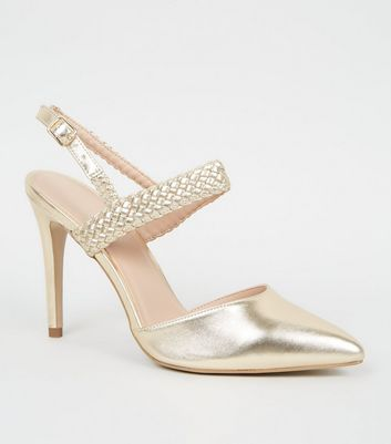 Gold Woven Strap 2 Part Court Shoes