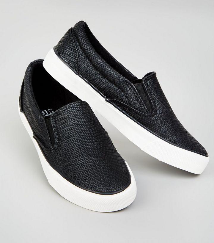 9b44f7d18c06d6 Girls – Schwarze Slip-on-Sneaker mit Schlangenmuster