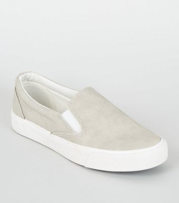 Girls Grey Faux Snake Slip On Trainers
