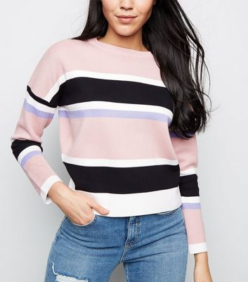 Pink Stripe Colour Block Jumper