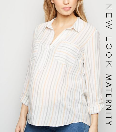 70730990854 Maternity Multicoloured Stripe Overhead Shirt · Maternity Multicoloured  Stripe Overhead Shirt ...