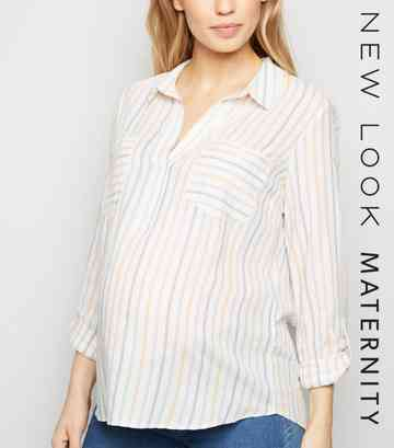Maternity Multicoloured Stripe Overhead Shirt