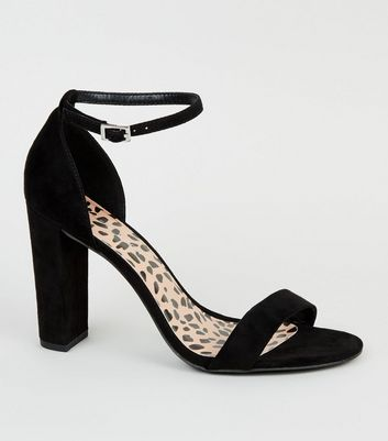 Wide Fit Black Leopard Print Insole Block Heels