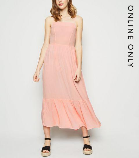 fe9a2076aa844 ... Pink Crinkle Tiered Hem Midaxi Dress ...