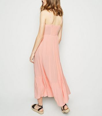 shop for Pink Crinkle Tiered Hem Midaxi Dress New Look at Shopo