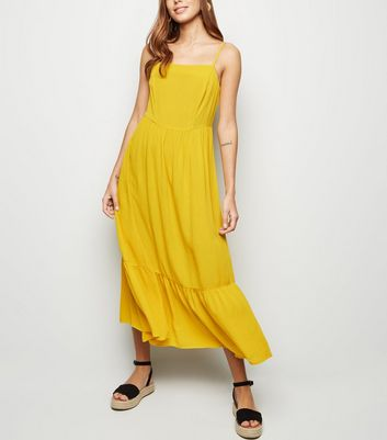 Yellow Crinkle Tiered Hem Midaxi Dress