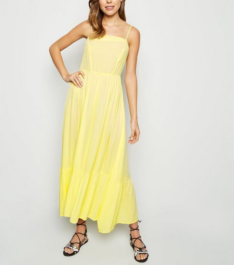 9ff8bc67dabd ... Pale Yellow Crinkle Tiered Hem Midaxi Dress ...