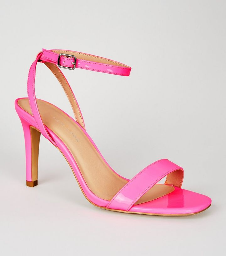 e3d6e101441 Wide Fit Bright Pink Patent 2 Part Heeled Sandals