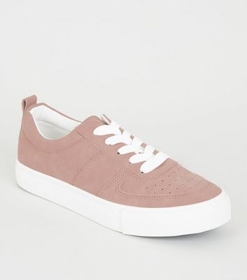 Girls Pink Suedette Lace Up Trainers