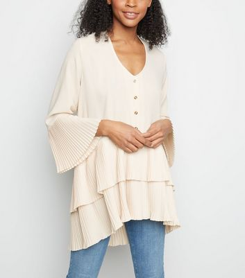 Cameo Rose Cream Pleated Frill Hem Tunic Top