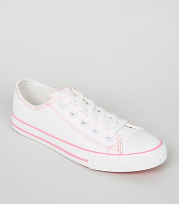 Girls White Neon Contrast Stitch Lace Up Trainers