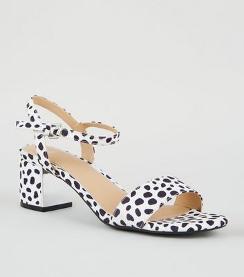 Wide Fit White Spot Print Block Heel Sandals