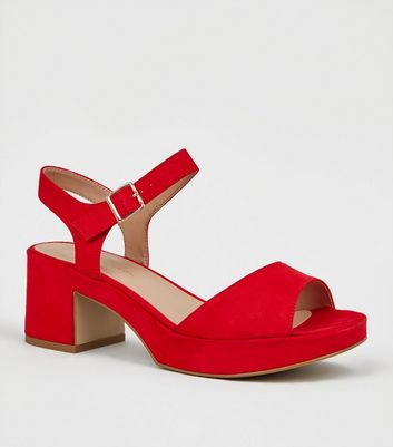 Wide Fit Red Suedette 2 Part Platform Heels