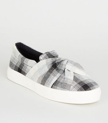 Grey Check Print Twisted Slip On Trainers