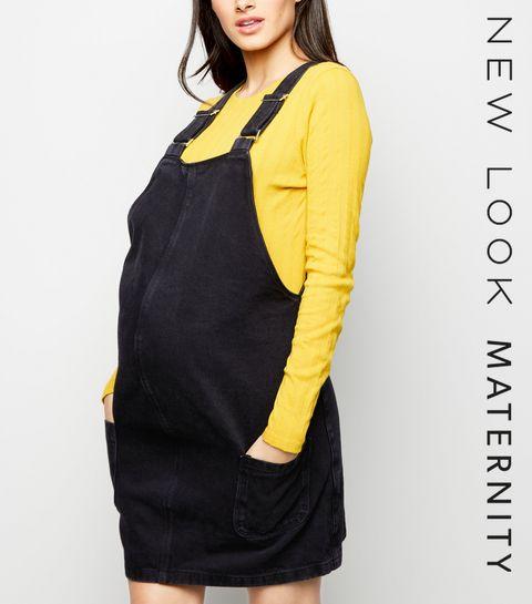 514e79f4845 ... Maternity Black Denim Mini Pinafore Dress ...