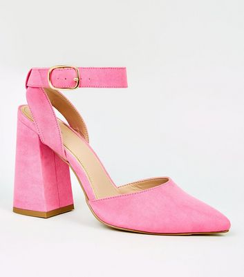 Bright Pink Suedette Ankle Strap Heel Courts