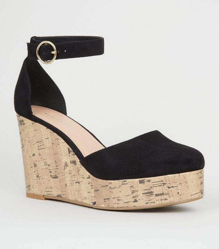 c5b00802413 Black Suedette Cork Effect Platform Wedges