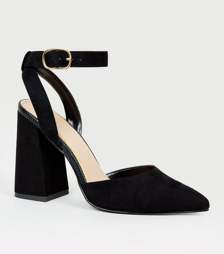 3011810fe09 Black Suedette Pointed Block Heel Courts Add to Saved Items Remove from  Saved Items