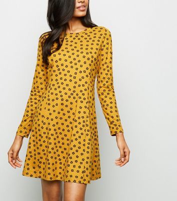 Petite Yellow Ditsy Floral Soft Touch Dress