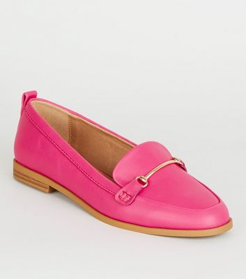 Bright Pink Leather-Look Loafers | New Look