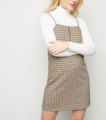 Petite Yellow Houndstooth Jacquard Pinafore Dress