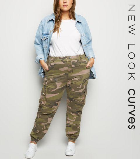 141d7013a13 ... Curves Khaki Camo Cuffed Utility Trousers ...