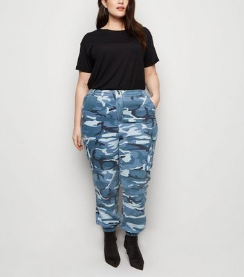 Curves Grey Camo Cuffed Utility Trousers