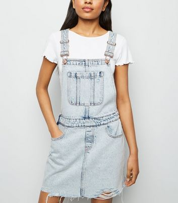 Petite Pale Blue Acid Wash Dungaree Dress New Look