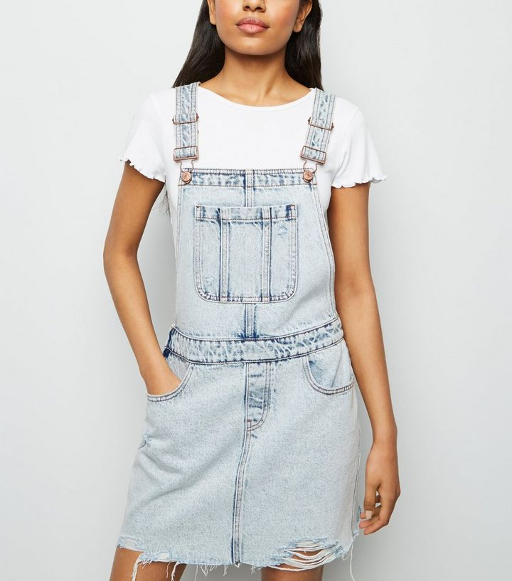 26fa80d3baf Petite Pale Blue Acid Wash Dungaree Dress | New Look