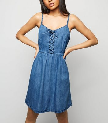 Petite Pale Blue Lattice Front Denim Mini Dress