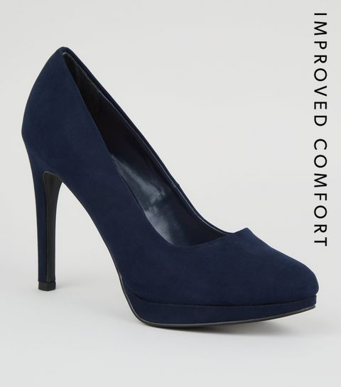 89b86c9061 Navy Suedette Platform Court Shoes · Navy Suedette Platform Court Shoes ...