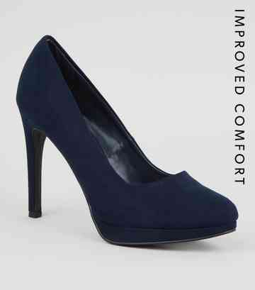 Navy Suedette Platform Court Shoes