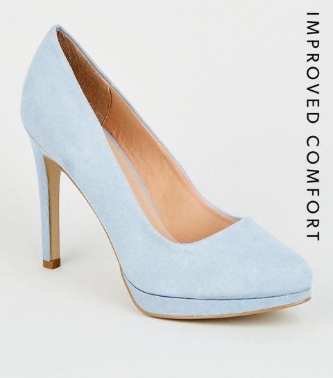 25f9d2acff ... Pale Blue Suedette Platform Court Shoes ...