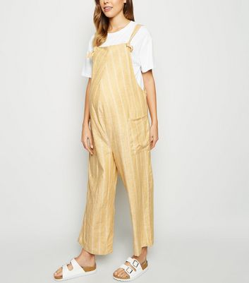 Maternity Yellow Stripe Linen Blend Dungaree Jumpsuit