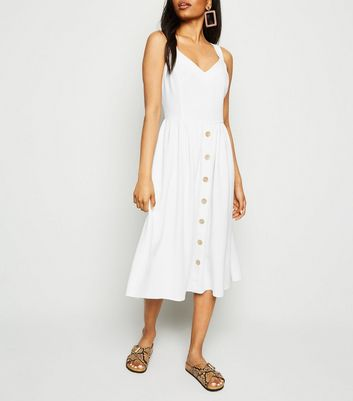 Petite White Linen Look Button Front Midi Dress