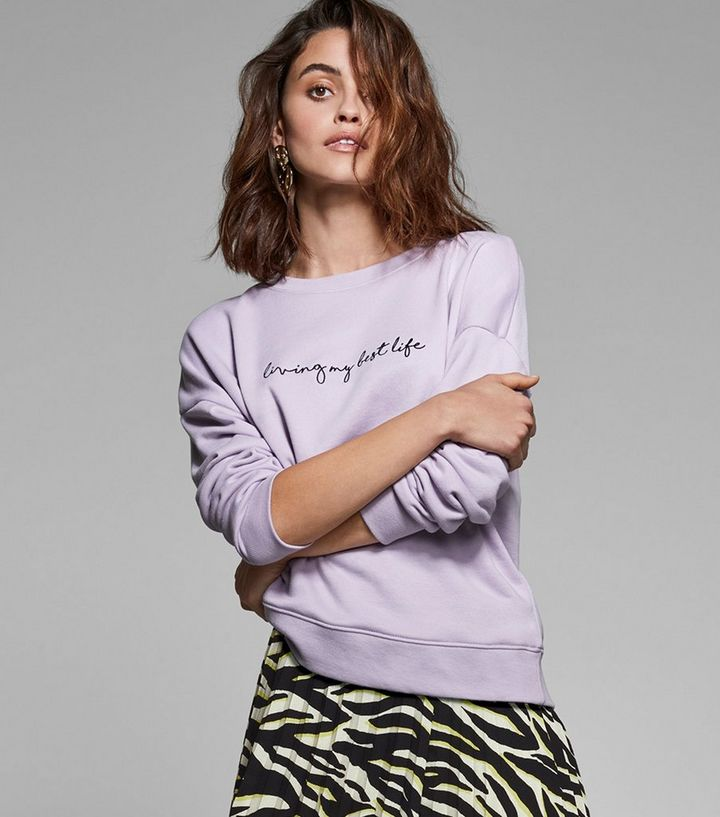 689355bce43d Lilac Living My Best Life Slogan Sweatshirt