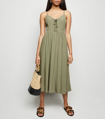 Petite Khaki Lace Up Front Midi Dress