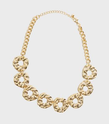 Gold Hammered Ring Chain Necklace