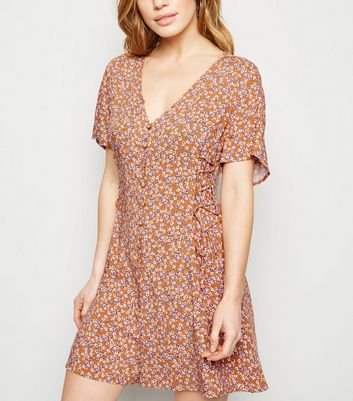 Petite Orange Floral Button Up Playsuit