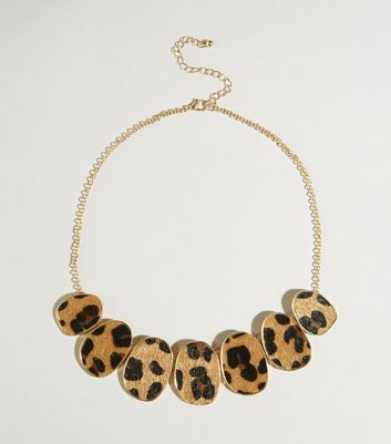 Brown Faux Leopard Fur Disc Necklace