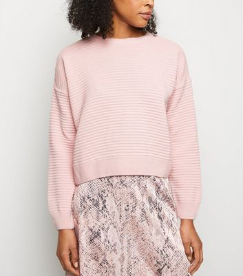 Pale Pink Ribbed Drop Sleeve Jumper