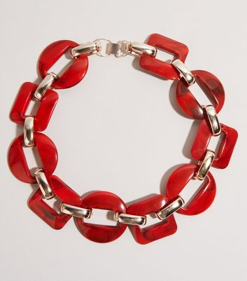 Red Chunky Resin Chain Necklace