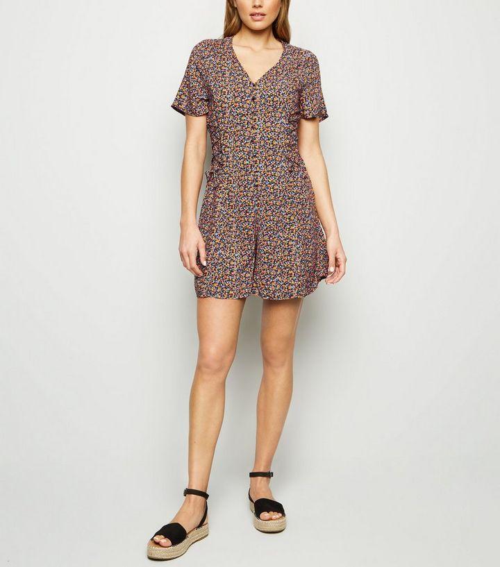056208706d Tall Black Floral Lace Up Side Tea Playsuit