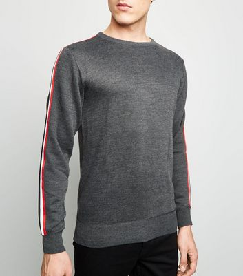 Dark Grey Side Stripe Sleeve Jumper