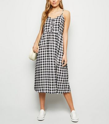 Tall Black Check Lace Up Midi Dress