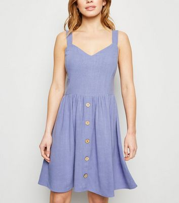 Petite Light Purple Linen Look Button Dress