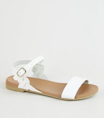 White Leather-Look Twist Strap Footbed Sandals