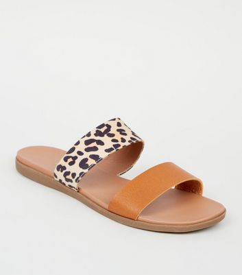 Stone Leopard Print Strap Footbed Sliders