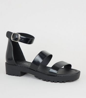 Black Chunky Strap Sandals